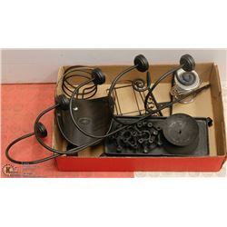 BOX OF BLACK STEEL CANDLE HOLDERS, NAPKIN HOLDER