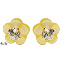 2) 14KT GOLD MOTHER OF PEARL DIAMOND EARRINGS