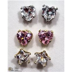 6) LOT OF 3 10KT GOLD PINK CUBIC ZIRCONIA EARRINGS