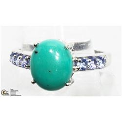 11) 2 STERLING SILVER TURQUOISE & TANZANITE RINGS