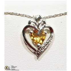 13) STERLING SILVER CITRINE PENDANT NECKLACE