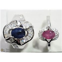 22) 2 STERLING SILVER RUBY, SAPPHIRE WITH CZ RINGS