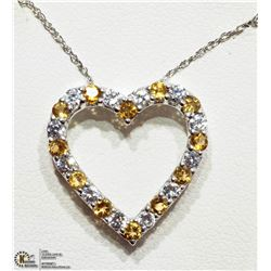 35) STERLING SILVER CITRINE HEART SHAPED NECKLACE