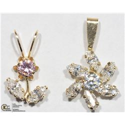 42) TWO 10KT YELLOW GOLD CUBIC ZIRCONIA PENDANTS