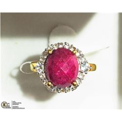 43) STERLING SILVER ENHANCED RUBY AND DIAMOND RING