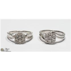 46) 2 STERLING SILVER 7 DIAMONDS RINGS