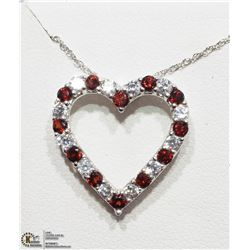 48) STERLING SILVER GARNET HEART SHAPED NECKLACE