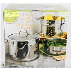 STAINLESS STEEL STOCK POT WITH 2 STEAMERS