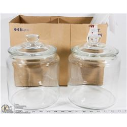 TWO IKEA GALLON GLASS JARS WITH LIDS