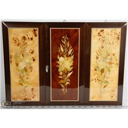 SET OF 3 ITALIAN MARQUETRY WALL PLAQUE