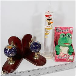 2 STONE INLAY GLOBE BOOK ENDS, GALILEO THERMOMETER