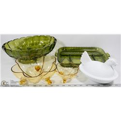 LOT W/ 2 PIECES OF GREEN DEPRESSION GLASS, 2