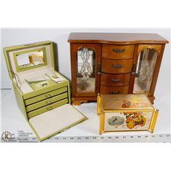 3 JEWELRY BOXES - 1 LARGE WOOD WITH MUSIC, 1