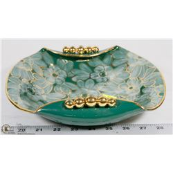 VINTAGE TEAL DECORATIVE PLATE.