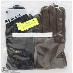 2 PACK LADIES LEATHER GLOVES MEDIUM