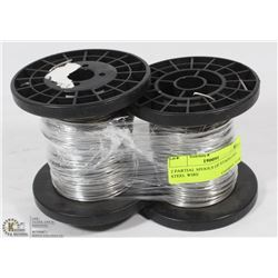 2 PARTIAL SPOOLS OF STAINLESS STEEL WIRE