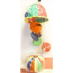 PAIR OF COLORED BALLOON HANGING LAMPS, 1 NEW