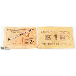 2 GERMAN BANK NOTES CONCENTRATION CAMP GROSS ROSEN