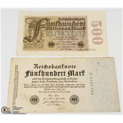 TWO GERMAN BANK NOTES - 500 MARKS 1922 & 500 MARKS