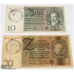 GERMAN NAZI WWII 3RD DIVISION TOTENKOPF BANK NOTES
