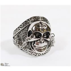 STERLING SILVER SKULL RING WITH CHAINS SIZE