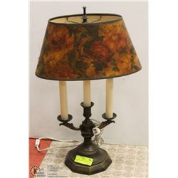 VINTAGE CANDLE LAMP. HOLE IN SHADE