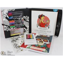 BOX WITH 3 TATTOO COLORING BOOKS AND CRAYONS