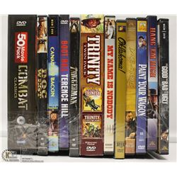 12 WESTERN AND 50 COMBAT CLASSICS DVD'S