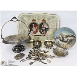 FLAT OF SILVER PLATED AND COLLECTABLES INCL SPOONS