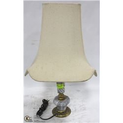 MARBLE & BRASS TABLE LAMP WITH SHADE.