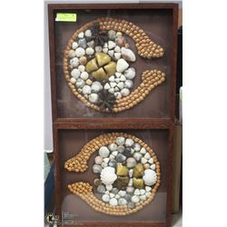 PAIR OF FRAMED PICTURES MADE OF SHELLS 16X17.