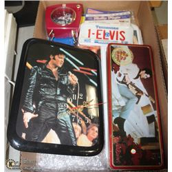BOX W/ELVIS PRESLEY COLLECTIBLES INCL.
