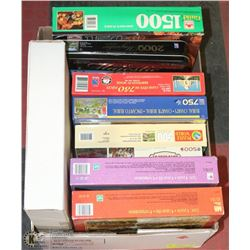 8 NEW JIGSAW PUZZLES + NEW GLASS PARCHEESI GAME