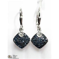 4) STERLING SILVER BLUE DIAMOND EARRINGS
