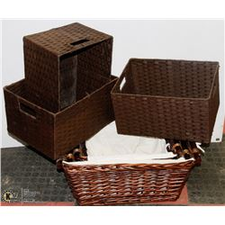 SET OF SIX WICKER STORAGE BOXES