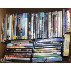 LARGE BOX W/OVER 50 DVD MOVIES & ONE