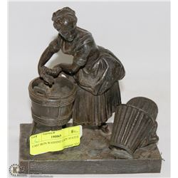 CAST IRON WASHING LADY STATUE