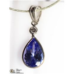 12) 14K WHITE GOLD TANZANITE & DIAMOND PENDANT W/