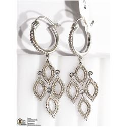 13) STERLING SILVER 154 DIAMOND DROP EARRINGS