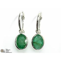 18) 14K WHITE GOLD EMERALD HOOP EARRINGS