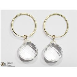 20) 14K YELLOW GOLD WHITE TOPAZ HOOP EARRINGS