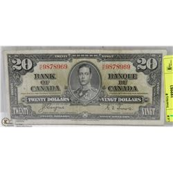 1937 CANADIAN $20 DOLLAR BILL