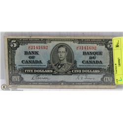 1937 CANADIAN $5 DOLLAR BILL