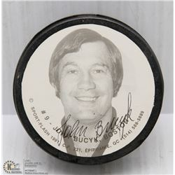 HOCKEY PUCK SIGNED BY JOHN BUCYK 1991