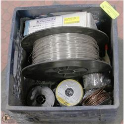 TOTE WITH SEVERAL DIFFERENT TYPES OF WELDING WIRE