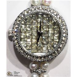 21) GENUINE FRESHWATER PEARL AND CRYSTAL WATCH