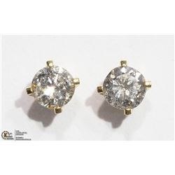 23) 14K YELLOW GOLD DIAMOND SOLITAIRE EARRINGS