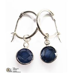 26) 14K WHITE GOLD SAPPHIRE & DIAMOND EARRINGS