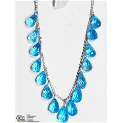 28) 10K WHITE GOLD BLUE TOPAZ BRIOLETTE NECKLACE