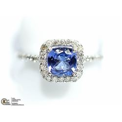 29) 10K W. GOLD TANZANITE & 34 DIAMOND HALO RING